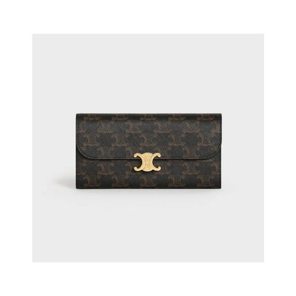 CELINE Large Triomphe Wallet In Triomphe Canvas