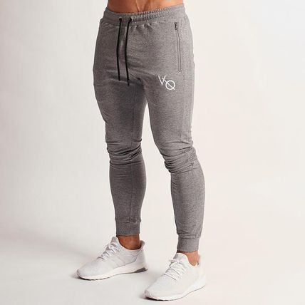 VANQUISH FITNESS Tapered Pants Street Style Plain Cotton Logo Tapered Pants