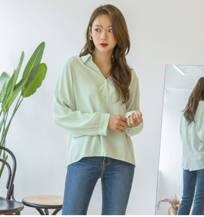 Casual Style Long Sleeves Plain Medium Long Party Style