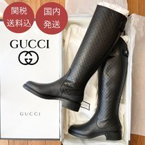 GUCCI Casual Style Leather Logo Boots Boots