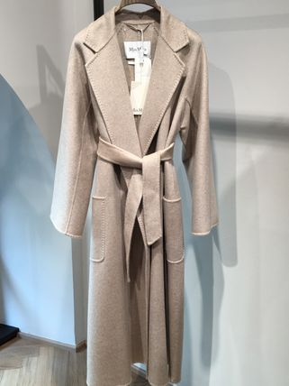 MaxMara LABBRO Stand Collar Coats Cashmere Plain Long Party Style