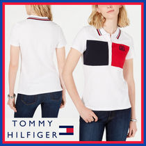 Tommy Hilfiger Stripes Plain Cotton Medium Short Sleeves Office Style Logo