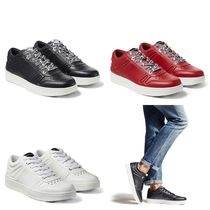 Jimmy Choo Star Street Style Plain Leather Handmade Logo Sneakers