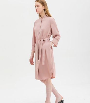 Casual Style Studded Street Style Plain Long Shirt Dresses