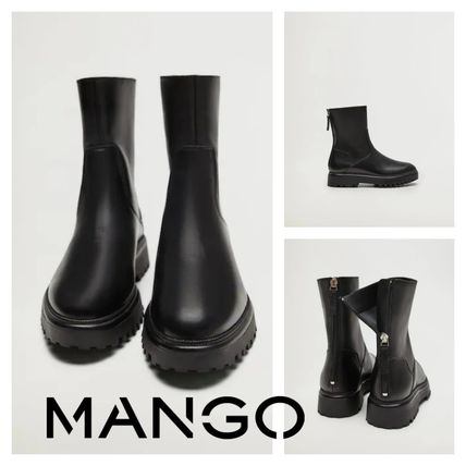 Platform Casual Style Leather Mid Heel Boots