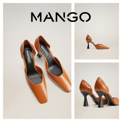 MANGO Square Toe Casual Style Leather Pin Heels Party Style