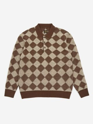 Needles Other Plaid Patterns Unisex Wool Long Sleeves Street Style