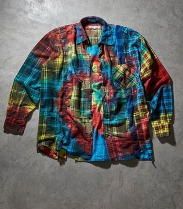 Needles Other Plaid Patterns Unisex Tie-dye Long Sleeves Cotton
