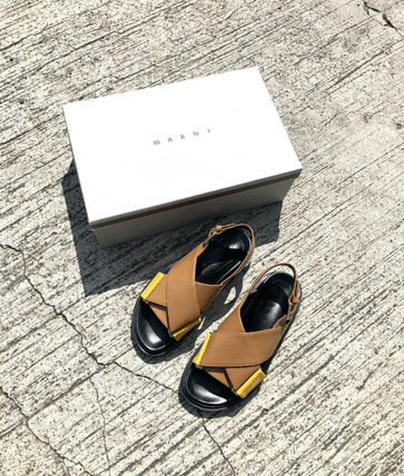 MARNI Open Toe Casual Style Plain Leather Shower Shoes Python