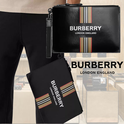 Burberry Stripes Calfskin Plain Logo Clutches