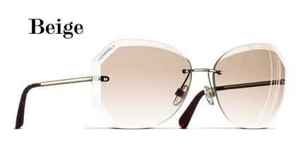 CHANEL Street Style Square Bridal Icy Color Sunglasses