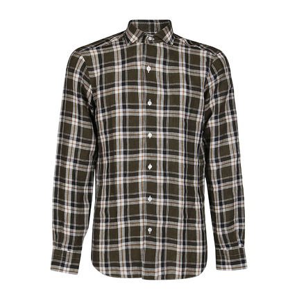 Other Plaid Patterns Linen Long Sleeves Khaki Front Button