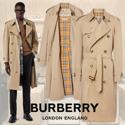 Burberry Plain Leather Trench Coats