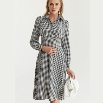 Gingham Other Plaid Patterns Casual Style A-line Flared
