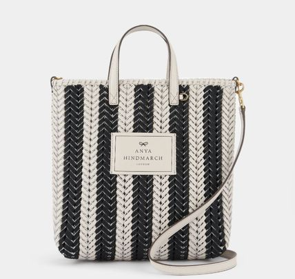 Stripes Casual Style A4 2WAY Leather Elegant Style Crossbody