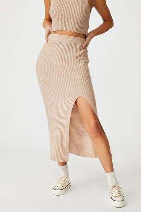 Pencil Skirts Casual Style Plain Cotton Medium Party Style