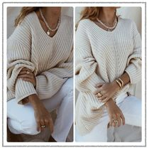 Maurie and Eve Platinum Casual Style Rib V-Neck Long Sleeves Plain Puff Sleeves