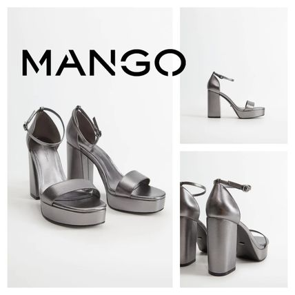 Open Toe Rubber Sole Casual Style Block Heels Party Style