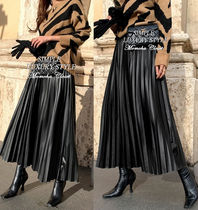 Faux Fur Pleated Skirts Long Maxi Skirts