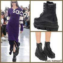sacai Casual Style Leather Wedge Boots