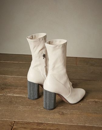 Casual Style Plain Leather Elegant Style High Heel Boots