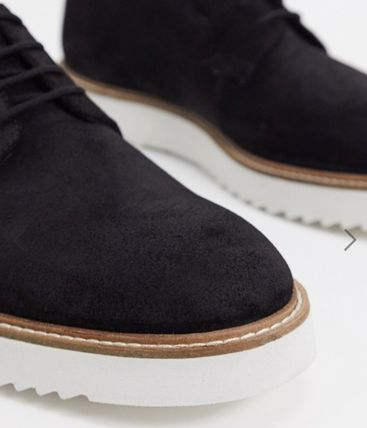 Suede Plain Leather Oxfords