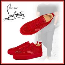 Christian Louboutin Suede Studded Street Style Plain Leather Sneakers
