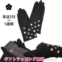 MARY QUANT Flower Patterns Wool Logo Touchscreen Gloves