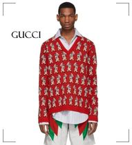 GUCCI Unisex Wool V-Neck Long Sleeves Luxury Sweaters