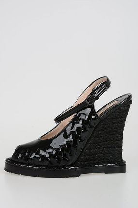 BOTTEGA VENETA Open Toe Casual Style Plain Leather Elegant Style
