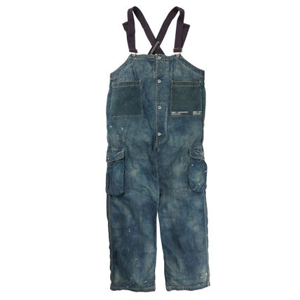 Denim Street Style Collaboration Plain Overalls Jeans