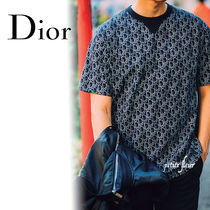 Christian Dior DIOR OBLIQUE Crew Neck Short Sleeves Logo Luxury Crew Neck T-Shirts