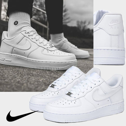 Nike AIR FORCE 1 Logo Casual Style Unisex Plain Street Style Low-Top Sneakers