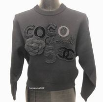 CHANEL Crew Neck Casual Style Cashmere Long Sleeves Plain Medium