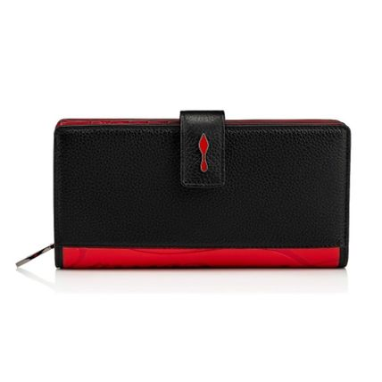 Calfskin Leather Folding Wallet Logo Long Wallets