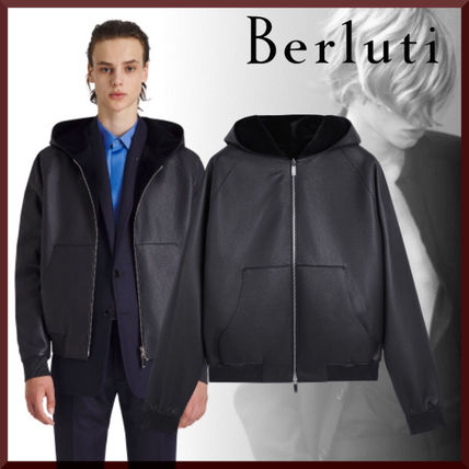 Berluti Hoodies Plain Leather Luxury Hoodies