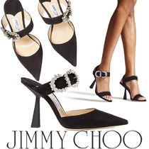 Jimmy Choo Casual Style Suede Plain Block Heels Party Style With Jewels