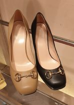 GUCCI Square Toe Leather Block Heels Elegant Style