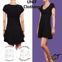 UNIF Clothing Short Casual Style Plain Short Sleeves Lace Dresses
