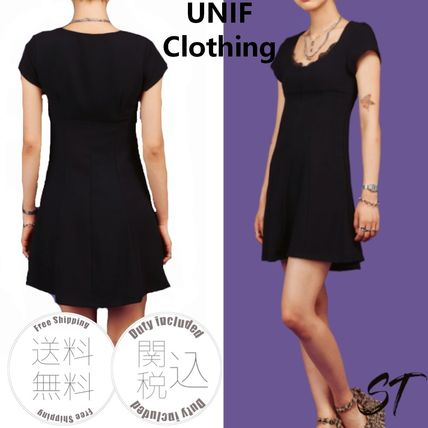 Short Casual Style Plain Short Sleeves Lace Dresses