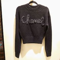 CHANEL Crew Neck Casual Style Cashmere Long Sleeves Elegant Style