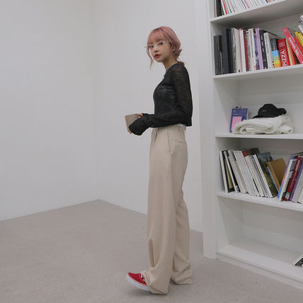 Casual Style Plain Long Office Style Pants
