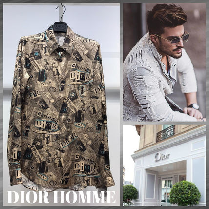 DIOR HOMME Shirts Button-down Street Style Long Sleeves Logo Shirts