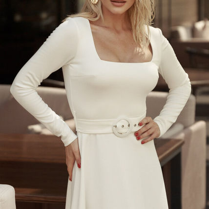 Casual Style A-line Flared U-Neck Long Sleeves Plain Cotton