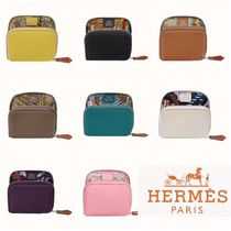 HERMES Silk In Unisex Plain Leather Small Wallet Coin Cases