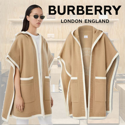 Burberry Wool Cashmere Nylon Bi-color Plain Logo Ponchos & Capes