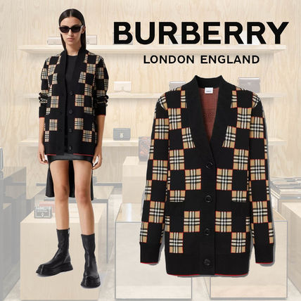 Burberry Tartan Other Plaid Patterns Wool Nylon Cardigans