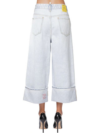 D SQUARED2 Denim Street Style Cotton Logo Wide & Flared Jeans