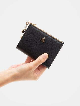 Small Wallet Logo Studded Plain Leather Street Style