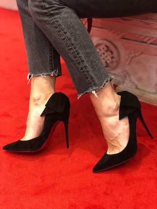 Christian Louboutin Open Toe Suede Pin Heels Stiletto Pumps & Mules